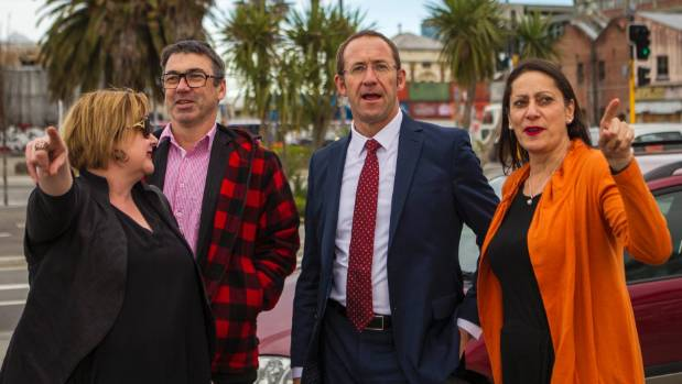 Labour leader Andrew Little in Christchurch with some of his MPs and supporters.