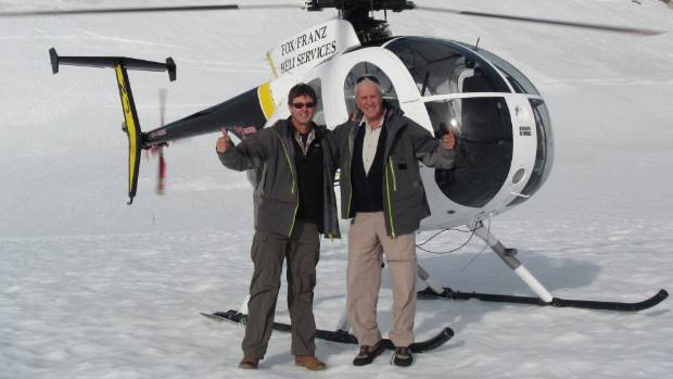 Zane Mirfin and Phil Clark on top of the world at Fox Glacier