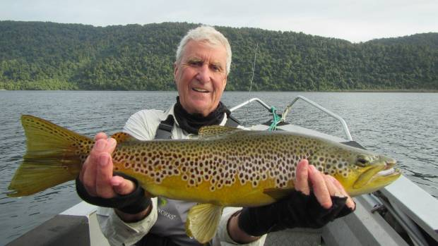 Phil Clark of Australia with another Lake Moeraki brown trout caught on the fly.
