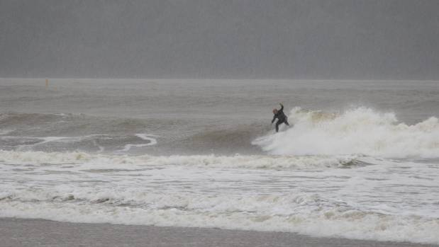 A lone surfer in the waves at Whitianga as Cyclone Cook rolled in.
