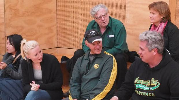 Murrays Bay Intermediate School sports director Kevin Anderson, centre, was at home at the school's gymnasium.