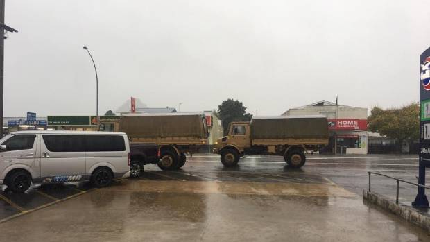 The Defence Force arrives in Tairua to help with potential flooding.