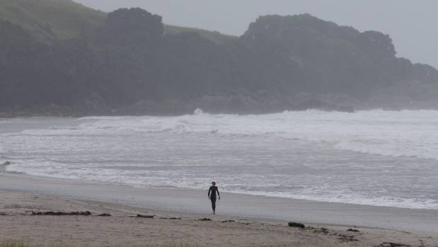 A few surfers were on the beaches at Eastern Bay near Whakatane.