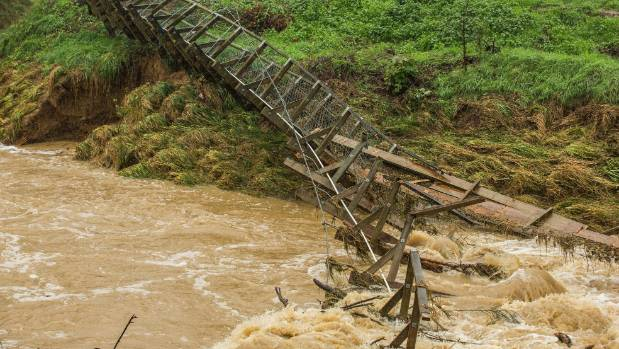 The swing footbridge across Moutere River at Holdaway Rd in Tasman was washed out on Wednesday night.