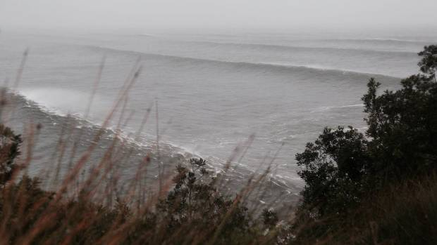 A large swell rolling in at Mt Maunganui as Cyclone Cook draws nearer.