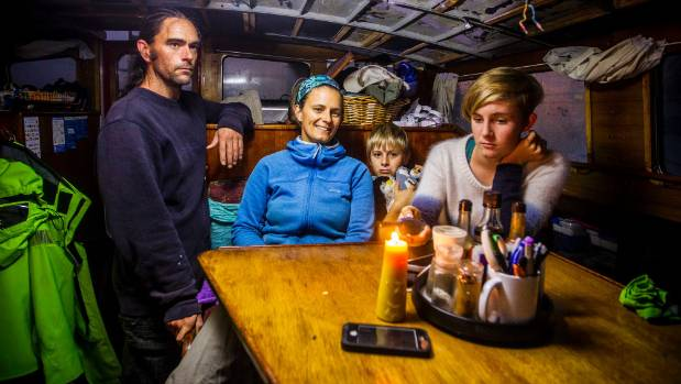 The Daynard family, Sean and Pam, with kids Leo 10 and Tuli 14, hunkered down comfortably in their yacht moored at ...