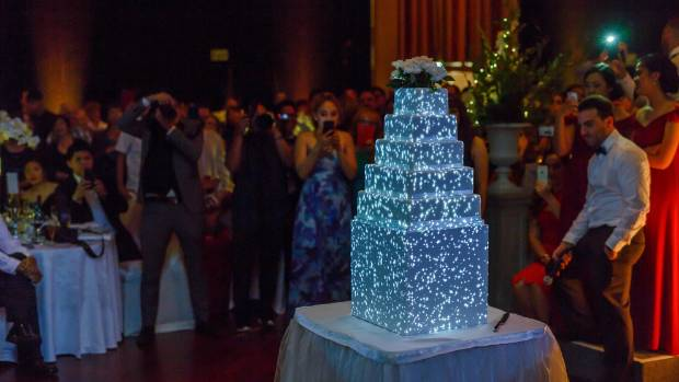 The 3D projection mapped wedding cake.