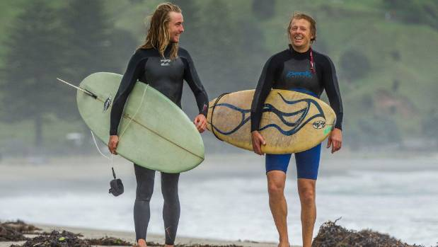 Graham Spiers and Braydon Foster braved Mt Maunganui's wild post-cyclone waves on Friday morning.