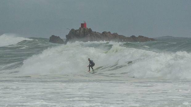 Large storm swell hits the beach on Mt Maunganui the morning after Cyclone Cook.