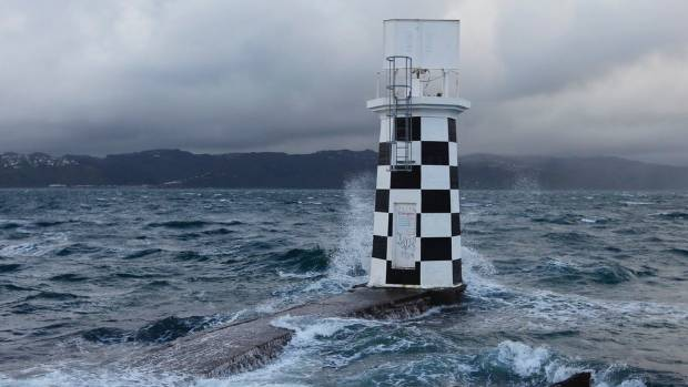 There was stormy weather at Point Halswell Lighthouse in Wellington harbour on Friday morning.