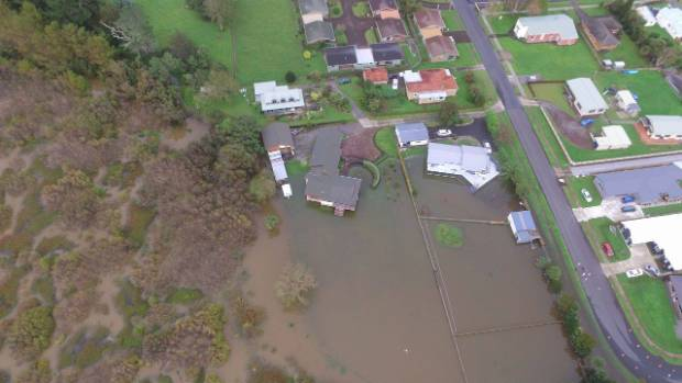 A drone image captures the extent of the flooding in Te Aroha.