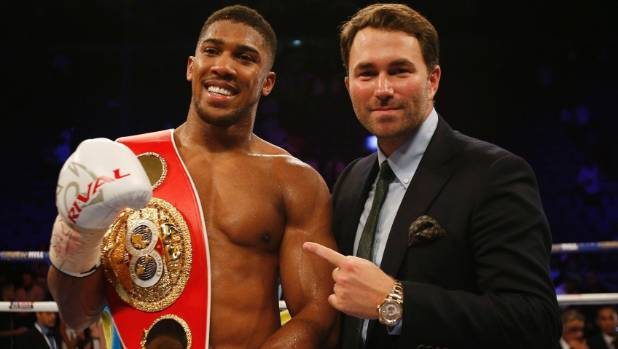 IBF champion Anthony Joshua and his talented promoter Eddie Hearn.