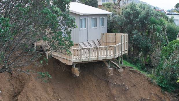 A massive landslide in Wellington in 2013 left this Priscilla Crescent house teetering on the edge of what used to be ...