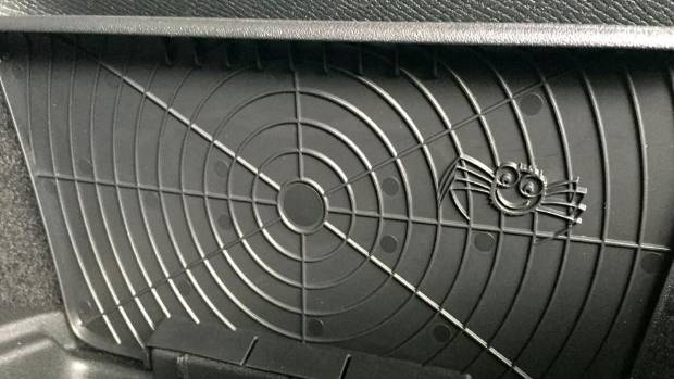Cute, right? But Spider in Volvo XC90 moulding is really an attempt to hide some messy plastic reinforcement.