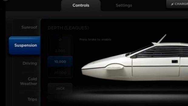 Type a special code into the Tesla Model S touch-screen to reveal the James Bond Lotus submarine.