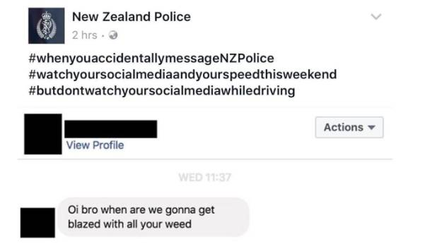 A message mistakenly sent to police on Facebook got plenty of people giggling, with the police using hashtags to promote ...
