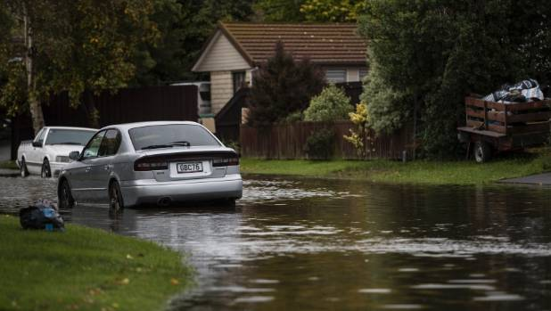 Cyclone Cook flooded streets in the north Canterbury town of Kaiapoi.
