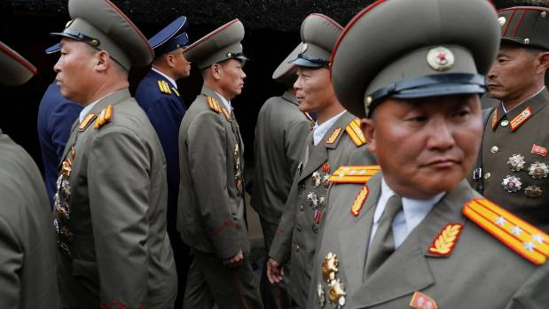 Military officers visit the birthplace of North Korean founder Kim Il Sung, a day before the 105th anniversary of his birth.