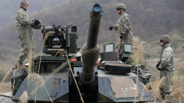 US soldiers prepare for a military exercise near the border between South and North Korea on April 14.