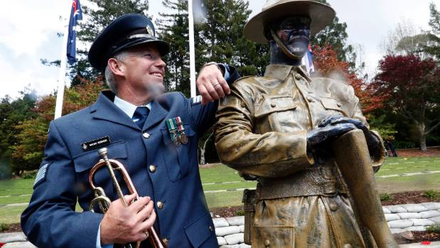 The memorial and statue was the brainchild of New Zealand Air Force bugler Sergeant Mason Robinson.