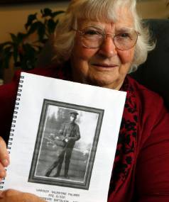 Margaret Kearns of Stoke, Nelson with a copy of the Great War diary kept by her father, Hartley Palmer.