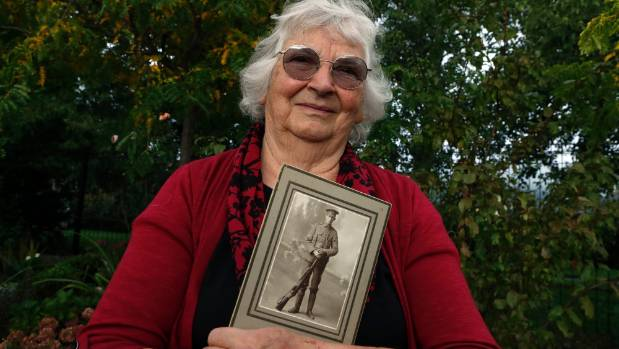 Margaret Kearns of Stoke, Nelson carries a photo of her father Hartley Palmer who fought on the shores of Gallipoli, ...