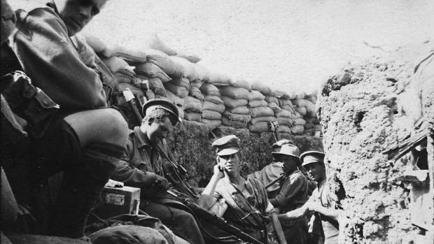 New Zealand soldiers in sand-bagged trenches at Gallipoli.