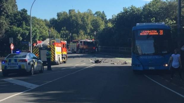 Emergency services at the scene of the crash on Anzac Pde on Saturday, April 8.