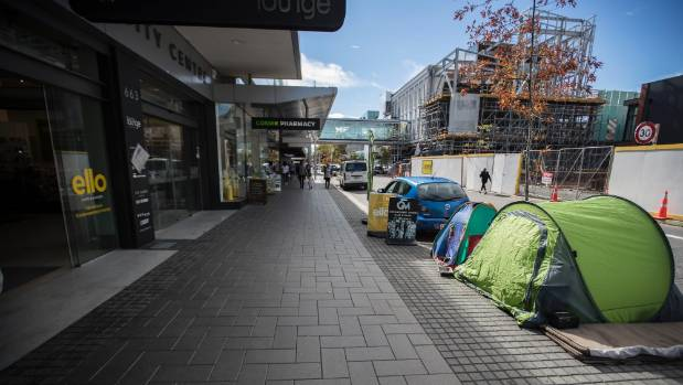 Set out from the path and on council property some are convinced the tents are & Christchurch homeless offered tents on Colombo St to stay dry could ...