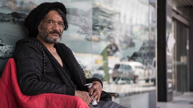 "Tepi Amohia, drinking an energy drink, says his experience makes him ""like a matua"" to the many young on the streets."