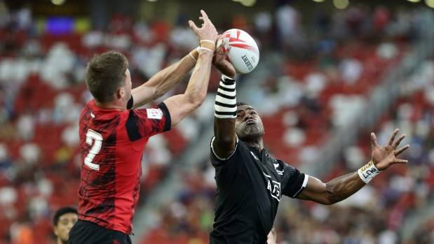 Joe Ravouvou of New Zealand and Morgan Williams of Wales challenge for the ball at a lineout.