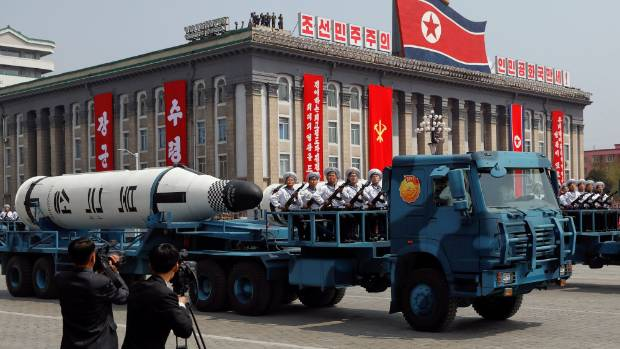 A North Korean navy truck carries the 'Pukkuksong' submarine-launched ballistic missile (SLBM) during a military parade ...