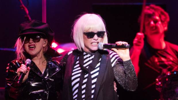 "Cyndi Lauper, left, and Debbie Harry rip in to the new Blondie single ""Fun""  during the Blondie/Cyndi Lauper concert ..."