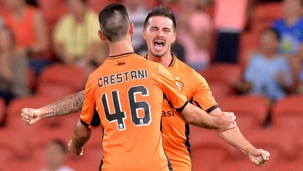 Brisbane Roar striker Jamie Maclaren celebrates his goal against the Wellington Phoenix on Sunday night.