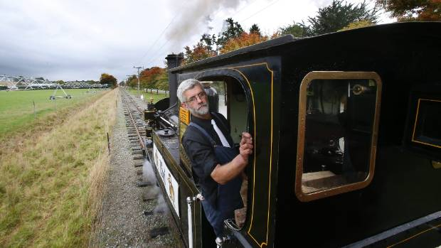 Train driver Dowell McLeod driving Kiwi the Engine along the Pleasant Point railway tracks on Sunday.