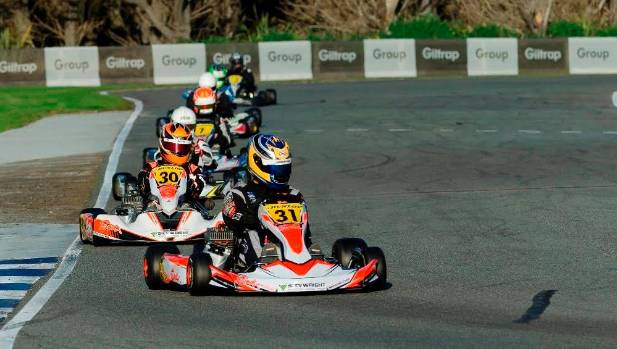Auckland's Daniel Kinsman leads the pack during a race at the 2017 KartSport New Zealand National Sprint Championship ...