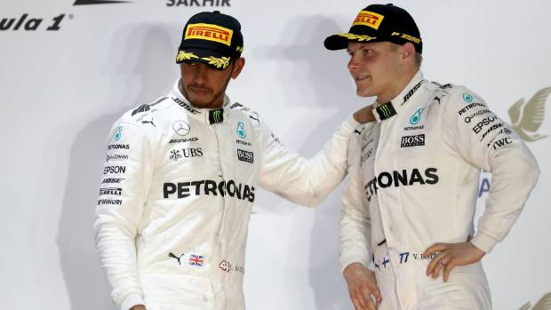 Valtteri Bottas (right) may be asked to give way to team-mate Lewis Hamilton with Mercedes considering a return to use ...