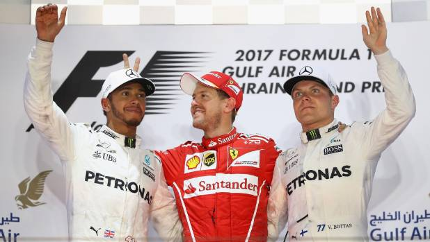 Mercedes team-mates Lewis Hamilton and Valtteri Bottas (right) have a race on their hands after Ferrari driver Sebastian ...