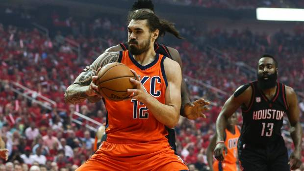 Oklahoma City Thunder centre Steven Adams muscles up against the Houston Rockets.
