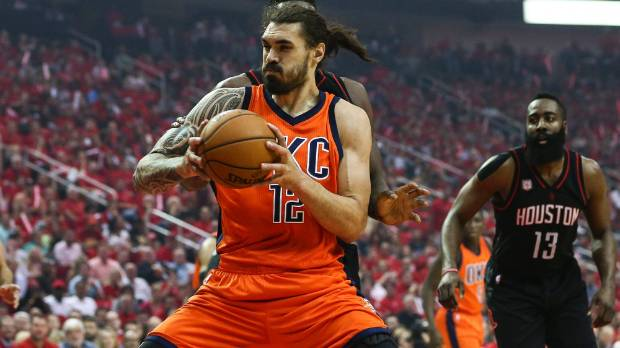 Oklahoma City Thunder centre Steven Adams battles the Houston Rockets in their NBA playoff series.
