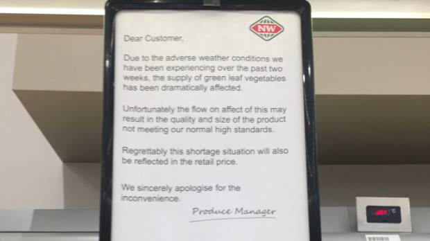 Signs in New World supermarkets advise customers of the effects of the recent rain.