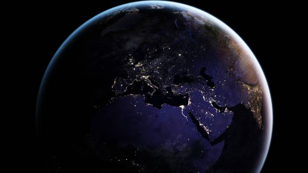 A new global map of earth at night shines a light on human a 2016 full hemisphere view of earth showing europe africa india and asia gumiabroncs Choice Image