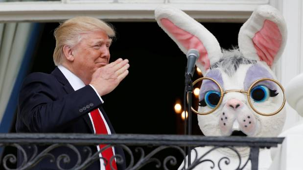 Day 88: Donald Trump is joined by the Easter Bunny at the White House. Asked to compare Trump to an animal, his ...