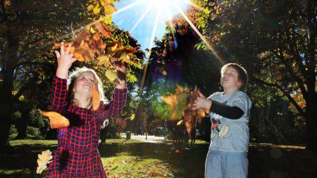 Harriet and Mac Allen of Invercargill , having fun with leaves in Queens Park on a perfect autumn day