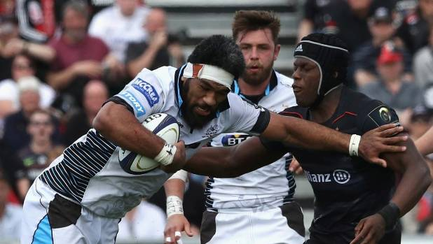 Brian Alainu'uese tussles with Maro Itoje in a European Champions Cup match against Saracens.