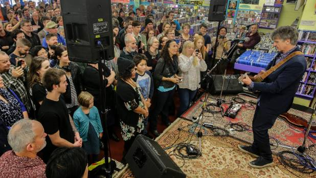 Neil Finn performs at Wellington's Slow Boat Records as part of International Record Store Day in 2015.