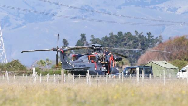 An NH90 sits on a private air strip near Blenheim after an emergency landing on Sunday.