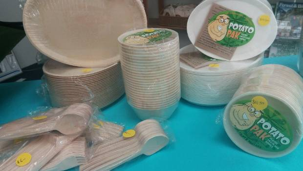 Ecoland has stocks of compostable food containers and wooden cutlery.