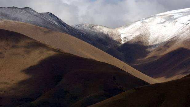 A mountain range on Ben Ohau farm in the Mackenzie Basin.