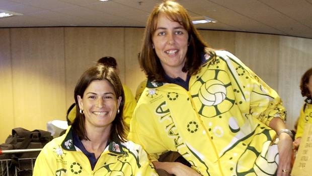 Kathryn Harby-Williams, left, and Liz Ellis in their playing days.